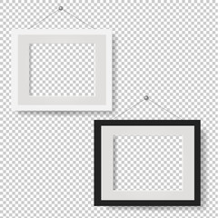 White Picture Frame Set Isolated Transparent Background