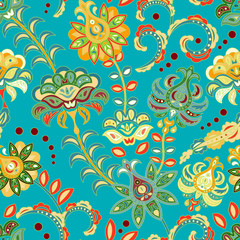 Seamless floral background. Colorful flowers and leafs on blue background. Vector illustration.