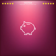 Premium Symbol of Piggy Bank Related Vector Line Icon Isolated on Gradient Background. Modern simple flat symbol for web site design, logo, app, UI. Editable Stroke. Pixel Perfect.