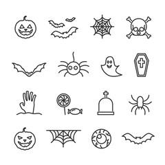 Vector image set of Halloween line icons.
