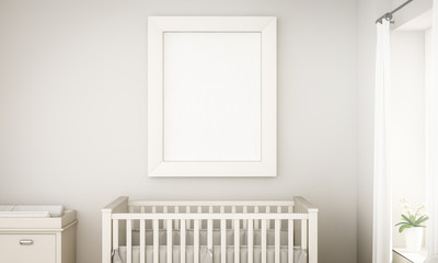 mockup of a white frame on unisex baby room