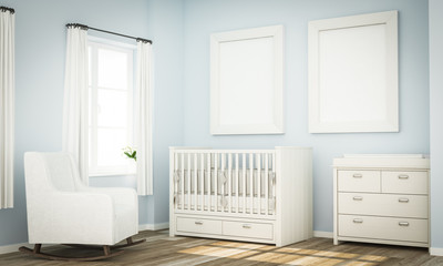 mockup of two blank frames on blue baby room wall