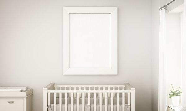 mockup of a white frame on unisex baby room