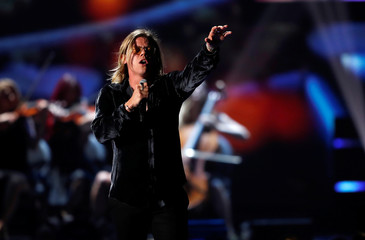 Australian singer Conrad Sewell performs during the iHeartRadio Music Festival at T-Mobile Arena in Las Vegas