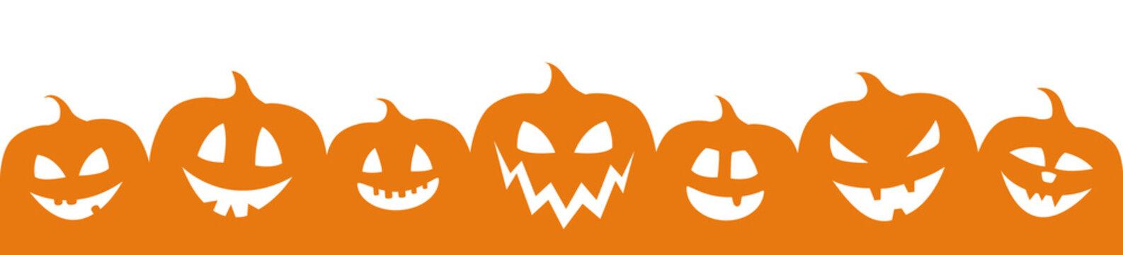 Concept of Halloween banner with pumpkins. Vector.
