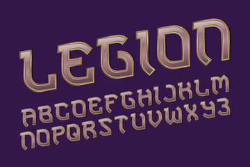 Legion pink golden alphabet. Gaming stylized font. Isolated english alphabet.