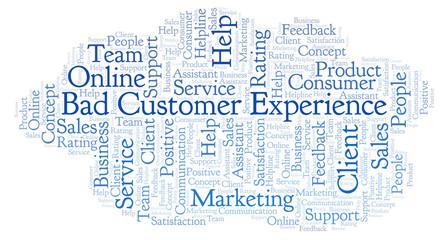 Bad Customer Experience word cloud.