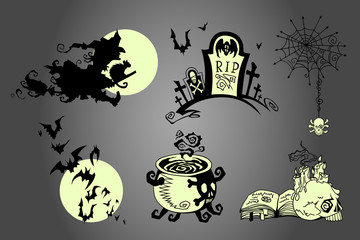 Hand drawn Halloween celebration design elements set