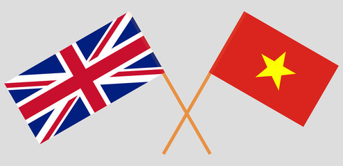 Socialist Republic of Vietnam and UK. The Vietnamese and British flags. Official colors. Correct proportion. Vector