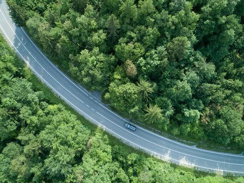AERIAL: Dark car drives through a curve of a road running through a forest.