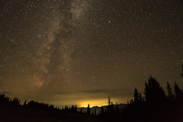 View in to the mountains with milky way after the sunset