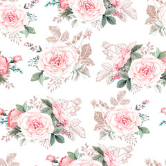 Beautiful watercolor pattern with peony and rose flowers. Pattern with