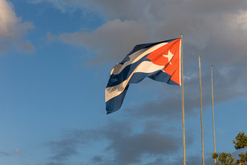 Cuban flag in a dramatic sky.