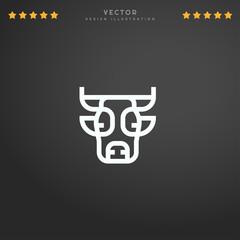 Outline Cow icon isolated on gradient background, for website design, mobile application, logo, ui. Editable stroke. Vector illustration. Eps10.