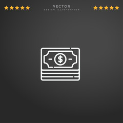 Outline Dollar icon isolated on gradient background, for website design, mobile application, logo, ui. Editable stroke. Vector illustration. Eps10.