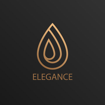 Elegance luxury jewelry logo. Icon concept with earring or gold drop for boutique with black background.