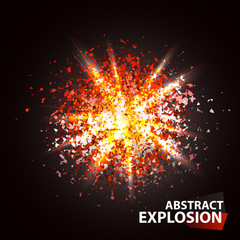 Abstract particle explosion. Energy, power fire blast. Star or magic vector illustration