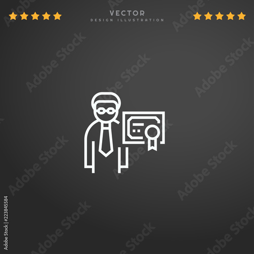 Outline Professional icon isolated on gradient background