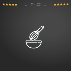 Outline Whisk icon isolated on gradient background, for website design, mobile application, logo, ui. Editable stroke. Vector illustration. Eps10.