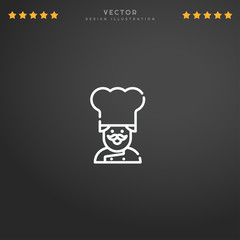 Outline Chef icon isolated on gradient background, for website design, mobile application, logo, ui. Editable stroke. Vector illustration. Eps10.