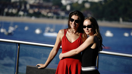 "French actors Laetitia Casta and Lily-Rose Depp take part in a photocall to promote the feature film ""A Faithful Man"" at the San Sebastian Film Festival"