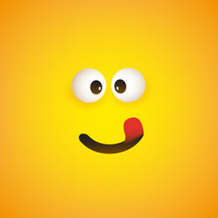 Smiling Emoji with Stuck Out Tongue - Simple Shiny Happy Emoticon Face on Yellow Background - Vector Design
