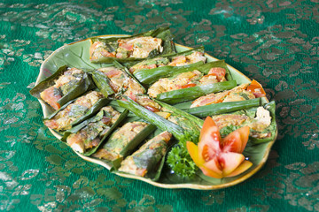 Steamed Fish in Banana Leaves Balinese, Thai or Indonesian Style