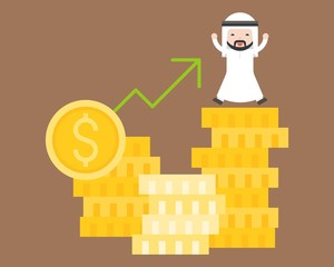 Happy Arab business man on pile of gold coins with arrow up