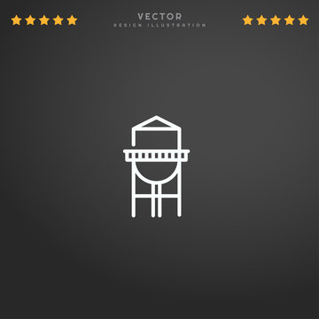 Outline Watertower icon isolated on gradient background, for website design, mobile application, logo, ui. Editable stroke. Vector illustration. Eps10.