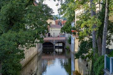 Bridge over the channel Chertovka on the island of Kampa in Prague