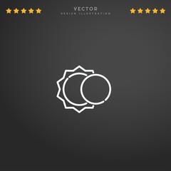 Outline Eclipse icon isolated on gradient background, for website design, mobile application, logo, ui. Editable stroke. Vector illustration. Eps10.
