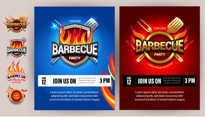 BBQ 2colorful poster template designs , party design, invitation, ad design. Barbecue logo. BBQ template menu design. Barbecue Food flyer. Barbecue advertisement.