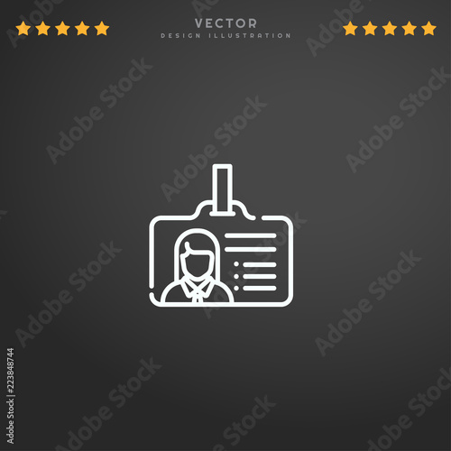 5849958afa Outline Id Card icon isolated on gradient background