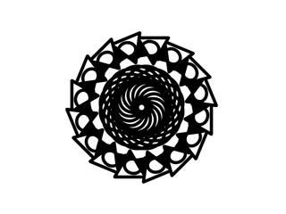 Black vector mandala on white background. Geometric shape medallion. Round decoration in futuristic style.