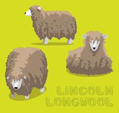 Sheep Lincoln Longwool Cartoon Vector Illustration