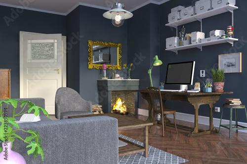 Skandinavisches, nordisches Wohnzimmer mit Schreibtisch ...