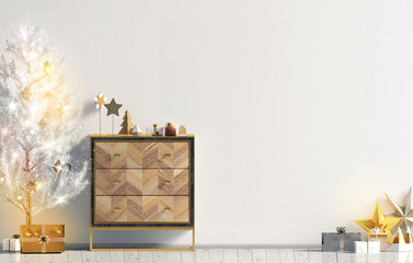 Modern Christmas interior with dresser and Christmas tree, Scandinavian style. Wall mock up. 3D illustration