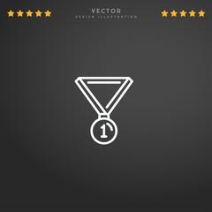 Outline Medal icon isolated on gradient background, for website design, mobile application, logo, ui. Editable stroke. Vector illustration. Eps10.