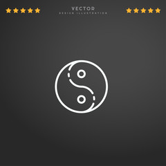 Outline Yin Yang icon isolated on gradient background, for website design, mobile application, logo, ui. Editable stroke. Vector illustration. Eps10.