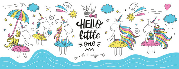 Custom vertical slats with your photo Cute doodle unicorn set with Hello Little One Lettering