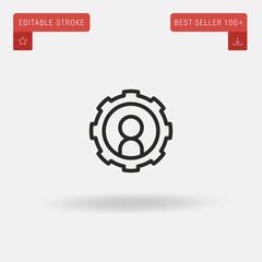Outline Setup icon isolated on grey background. Line pictogram. Premium symbol for website design, mobile application, logo, ui. Editable stroke. Vector illustration. Eps10