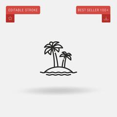 Outline Island icon isolated on grey background. Line pictogram. Premium symbol for website design, mobile application, logo, ui. Editable stroke. Vector illustration. Eps10