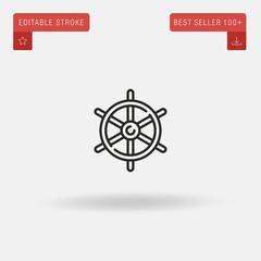 Outline Helm icon isolated on grey background. Line pictogram. Premium symbol for website design, mobile application, logo, ui. Editable stroke. Vector illustration. Eps10