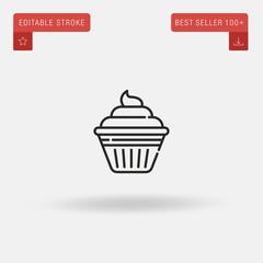 Outline Cupcake icon isolated on grey background. Line pictogram. Premium symbol for website design, mobile application, logo, ui. Editable stroke. Vector illustration. Eps10