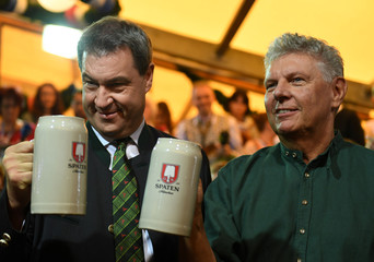 Munich mayor Dieter Reiter and Bavarian State Prime Minister Markus Soeder pose at the opening day of the 185th Oktoberfest in Munich