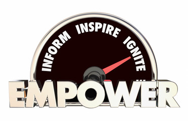 Empower Inform Inspire Ignite Words Speedometer 3d Illustration