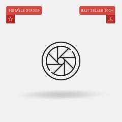 Outline Lens icon isolated on grey background. Line pictogram. Premium symbol for website design, mobile application, logo, ui. Editable stroke. Vector illustration. Eps10