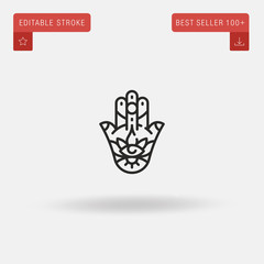 Outline Hamsa icon isolated on grey background. Line pictogram. Premium symbol for website design, mobile application, logo, ui. Editable stroke. Vector illustration. Eps10
