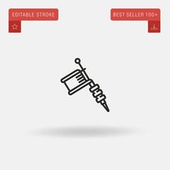 Outline Tattoo Machine icon isolated on grey background. Line pictogram. Premium symbol for website design, mobile application, logo, ui. Editable stroke. Vector illustration. Eps10