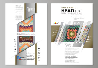 Blog graphic business templates. Page website design template, abstract vector layout. Tribal pattern, geometrical ornament in ethno syle, ethnic hipster backdrop, vintage fashion background.